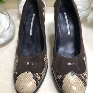 Like new Donald J Pliner snakeskin/suede wedges